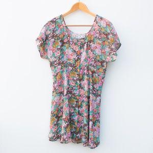 Vintage | One Size Floral Button Tie Back Dress